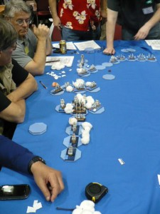 Photo 19 - An 'Age of Sail' battle in full swing. The blue octagons appear to be some sort of movement device.