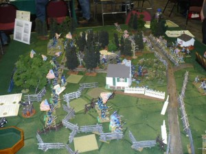 """Photo 28 - Bill Hupp's 54mm Battle Cry Gettysburg game - geared especially to """"Junior Generals"""" (little boys with fathers in tow)."""