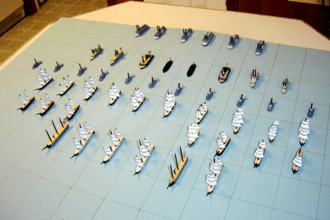 This picture of the Union navy shows the paper sails of the seagoing ships.