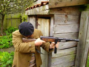 Spanish Civil War re-enactor with Suomi smg.